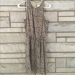 LEONA Leather Trim Silk Leopard Print Dress